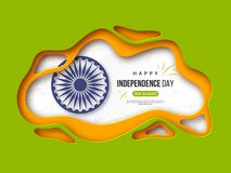 Indian Independence day holiday background. Paper cut shapes with shadow, 3d wheel and halftone effect in traditional. Tricolor of indian flag. Greeting text Royalty Free Stock Images