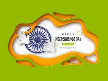 Indian Independence day holiday background. Paper cut shapes with shadow, doves, 3d wheel and halftone effect in. Traditional tricolor of indian flag. Greeting Stock Image