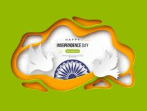 Indian Independence day holiday background. Paper cut shapes with shadow, doves, 3d wheel and halftone effect in. Traditional tricolor of indian flag. Greeting Stock Photo