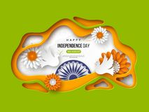Indian Independence day holiday background. Paper cut shapes with shadow, doves, flowers, 3d wheel in traditional. Tricolor of indian flag. Greeting text Royalty Free Stock Photography