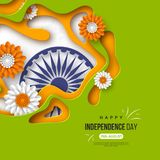 Indian Independence day holiday background. Paper cut shapes with shadow, flowers, 3d wheel in traditional tricolor of. Indian flag. Greeting text. Vector Stock Photo