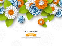 Indian Independence day holiday design. 3d wheels, flowers with leaves in traditional tricolor of indian flag. Paper cut Stock Photo