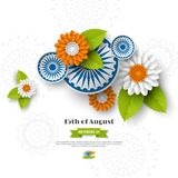 Indian Independence day holiday design. 3d wheels, flowers with leaves in traditional tricolor of indian flag. Paper cut Royalty Free Stock Photo