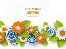 Indian Independence day holiday design. 3d wheels, flowers with leaves in traditional tricolor of indian flag. Paper cut Stock Photography