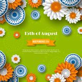 Indian Independence day holiday design. 3d wheels with flowers in traditional tricolor of indian flag. Paper cut style. Green background. Vector illustration Stock Photo