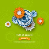 Indian Independence day holiday design. 3d wheels with flowers in traditional tricolor of indian flag. Paper cut style Stock Photos