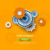 Indian Independence day holiday design. 3d wheels with flowers in traditional tricolor of indian flag. Paper cut style. Orange background. Vector illustration Stock Image