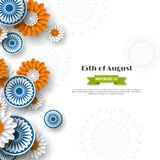 Indian Independence day holiday design. 3d wheels with flowers in traditional tricolor of indian flag. Paper cut style. White background. Vector illustration Royalty Free Stock Image
