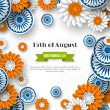 Indian Independence day holiday design. 3d wheels with flowers in traditional tricolor of indian flag. Paper cut style. White background. Vector illustration Stock Photography
