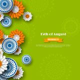 Indian Independence day holiday design. 3d wheels with flowers in traditional tricolor of indian flag. Paper cut style. Green background. Vector illustration Stock Photography