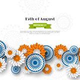 Indian Independence day holiday design. 3d wheels with flowers in traditional tricolor of indian flag. Paper cut style. White background. Vector illustration Stock Image