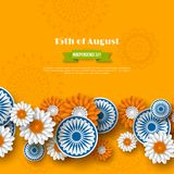 Indian Independence day holiday design. 3d wheels with flowers in traditional tricolor of indian flag. Paper cut style. Orange background. Vector illustration Stock Images
