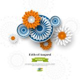Indian Independence day holiday design. 3d wheels with flowers in traditional tricolor of indian flag. Paper cut style. White background. Vector illustration Stock Photo
