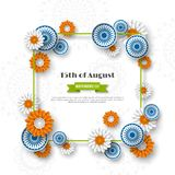 Indian Independence day holiday design. 3d wheels, frame and flowers in traditional tricolor of indian flag. Paper cut. Style. White background. Vector Stock Photo