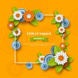 Indian Independence day holiday design. 3d wheels, frame and flowers in traditional tricolor of indian flag. Paper cut Royalty Free Stock Photos