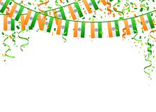 Indian Independence Day 2. Indian Independence Day template on white background. Vector illustration with saffron and green flags, ribbon and confetti for Happy Royalty Free Illustration