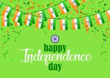 Indian Independence Day 1. Indian Independence Day text and Ashoka Wheel on saffron and green color background. Vector illustration with flags, ribbon and Vector Illustration