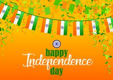 Indian Independence Day 4. Indian Independence Day text and Ashoka Wheel on saffron and green color background. Vector illustration with flags, ribbon and Royalty Free Illustration