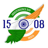 Indian Independence Day label or print with stylized flag on win Royalty Free Stock Image