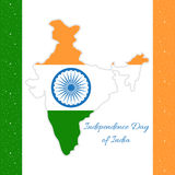 Indian Independence Day. Map of India in the state flag colors Royalty Free Stock Photo