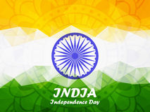 Indian Independence Day polygonal background. Happy Independence Day India. 15th of august. Indian Independence Day polygonal background with ashoka wheel for Royalty Free Stock Photos