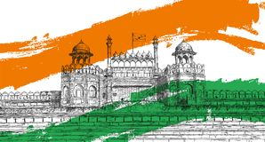 Indian Independence Day - Red Fort, India with Tricolor Flag stock images
