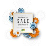 Indian Independence day sale banner. 3d wheels with flowers in traditional tricolor of indian flag. Paper cut style. White background. Vector illustration Stock Photography