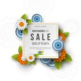 Indian Independence day sale banner. 3d wheels with flowers in traditional tricolor of indian flag. Paper cut style. White backgro. Und. Vector illustration Royalty Free Illustration