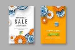 Indian Independence day sale posters. 3d wheels with flowers in traditional tricolor of indian flag. Paper cut style. Vector illustration Stock Image