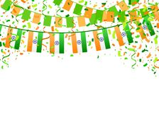 Indian Independence Day 10. Indian Independence Day template on white background. Vector illustration with saffron and green flags, ribbon and confetti for Happy Stock Illustration