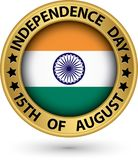 Indian Independence Day 15th of August gold label, vector illust. Indian Independence Day 15th of August gold label, vector Stock Image