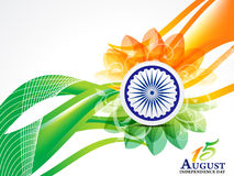 Indian Independence Day Wave Abstract Background With Flower Royalty Free Stock Image