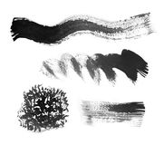 Indian ink texture set. Background of black and white ink painted illustration Vector Illustration