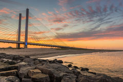 Indian Inlet River Bridge. Sunset at Indian Inlet River Bridge Stock Images