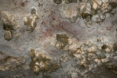 Indian inscriptions in the cave Stock Images