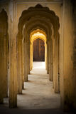 Indian interior, corridor with columns, Jaipur Royalty Free Stock Image