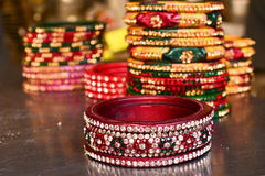 Indian jewellery stone jadau lac bangles. Indian Lac bangles in rajasthan india Stock Images