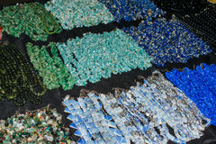Indian jewelry fashion jewelry beads plastic, different color. Closeup Stock Image