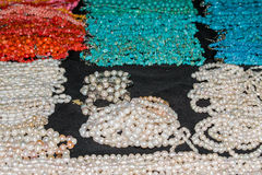 Indian jewelry fashion jewelry beads plastic, different color. Closeup Royalty Free Stock Photography
