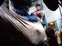 Indian jugaadu train stock photo