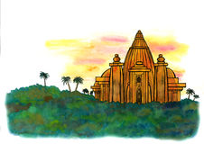 Indian Jungle Temple (Zen Pictures II, 2012). An abstract illustration of a mysterious ancient temple in the deep indian jungle Stock Images