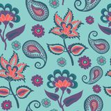 Indian Kalamkari Seamless Pattern on Blue,  Arabic Pasley backround Repeating Pattern Living Coral and Turqoise color stock illustration