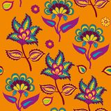 Indian Kalamkari Seamless Pattern on Orange  Arabic Pasley backround Repeating Pattern Living Coral and Turqoise color royalty free illustration