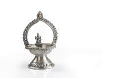 Indian kamatshi Amman Oil Lamp. Isolated on White Royalty Free Stock Image