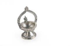 Indian kamatshi Amman Oil Lamp. Isolated on White Royalty Free Stock Images