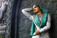 Indian kathak form of dancer Wall art on the pillar of Flyover Stock Photos