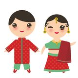 Indian Kawaii boy and girl in national costume. Cartoon children in traditional India dress sari isolated on white background. Vec Royalty Free Stock Photos