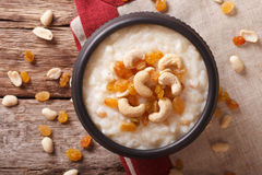 Indian kheer rice pudding with nuts and raisins close-up. horizo Royalty Free Stock Photography