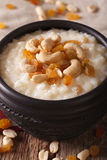 Indian kheer sweet rice pudding with nuts macro. vertical Royalty Free Stock Images