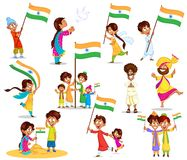 Indian kid with flag of India. In vector Royalty Free Stock Images